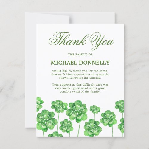 Irish Funeral Shamrock Clover Thank You Card