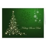 Irish Gaelic Christmas,  green gold sparkling tree Cards