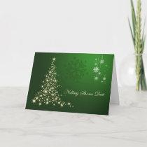 Irish Gaelic Christmas,  green gold sparkling tree Holiday Card