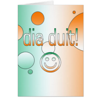 Irish Gaelic Gifts Hello / Dia Duit + Smiley Face Greeting Card