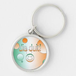 Irish Gaelic Gifts Hello / Dia Duit + Smiley Face Key Chain