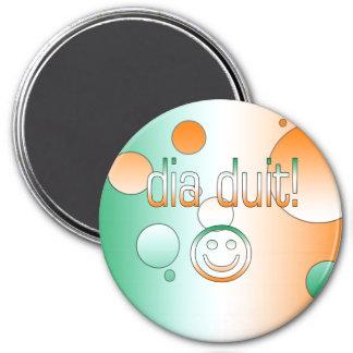 Irish Gaelic Gifts Hello / Dia Duit + Smiley Face Fridge Magnets