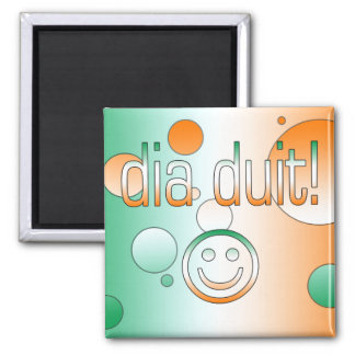 Irish Gaelic Gifts Hello / Dia Duit + Smiley Face Refrigerator Magnets