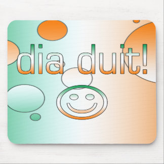 Irish Gaelic Gifts Hello / Dia Duit + Smiley Face Mouse Pad