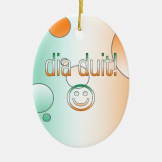 Irish Gaelic Gifts Hello / Dia Duit + Smiley Face Christmas Ornament