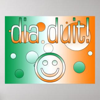 Irish Gaelic Gifts Hello / Dia Duit + Smiley Face Print