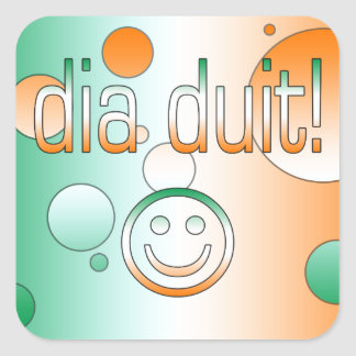 Irish Gaelic Gifts Hello / Dia Duit + Smiley Face Square Sticker