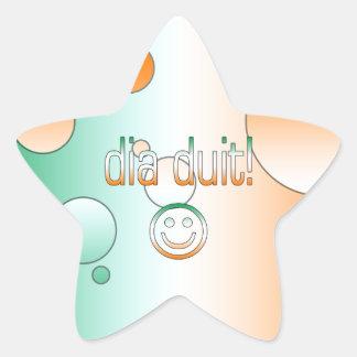 Irish Gaelic Gifts Hello / Dia Duit + Smiley Face Star Sticker