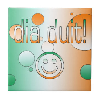 Irish Gaelic Gifts Hello / Dia Duit + Smiley Face Tile