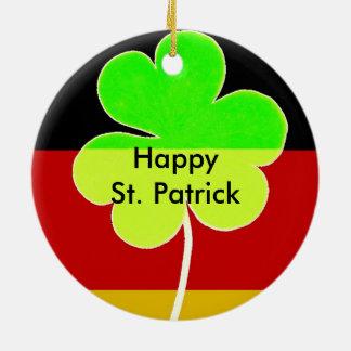 Irish German Flag Shamrock Clover St. Patrick Fun Ceramic Ornament