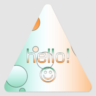 Irish Gifts : Hello + Smiley Face Triangle Stickers