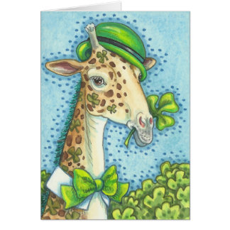 IRISH GIRAFFE ST. PATRICK'S DAY NOTE CARD