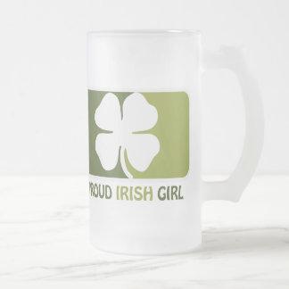 Irish Girl 16 Oz Frosted Glass Beer Mug