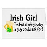 Irish Girl Drinking Buddy Greeting Cards