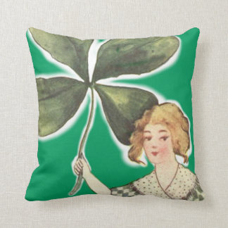 Irish Girl Gigantic Four Leaf Clover Throw Pillow