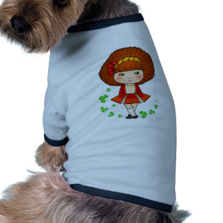 Irish girl in red dress with shamrocks doggie t shirt