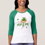 Irish Girl Leprechaun Hat Flag & Shamrock Clovers Shirt