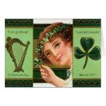 Irish Girl Shamrock Harp of Erin Card