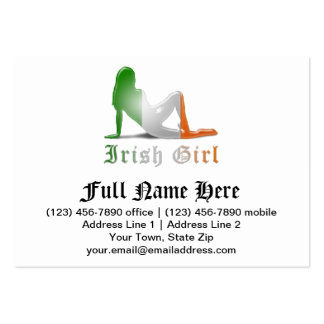 Irish Girl Silhouette Flag Business Card Template