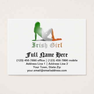 Irish Girl Silhouette Flag Business Card