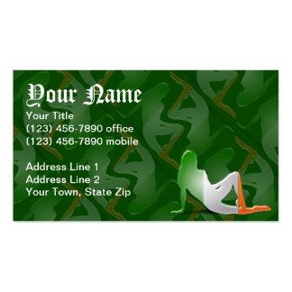 Irish Girl Silhouette Flag Business Card