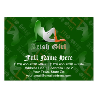 Irish Girl Silhouette Flag Business Cards