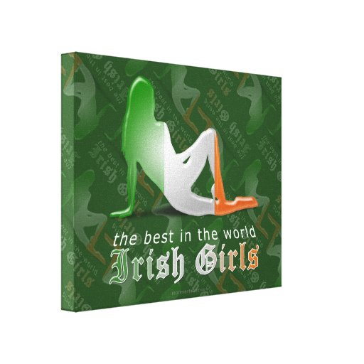 Irish Girl Silhouette Flag Gallery Wrapped Canvas