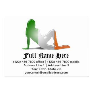 Irish Girl Silhouette Flag Large Business Card