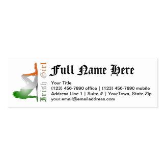 Irish Girl Silhouette Flag Mini Business Card