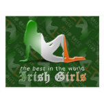 Irish Girl Silhouette Flag Post Cards