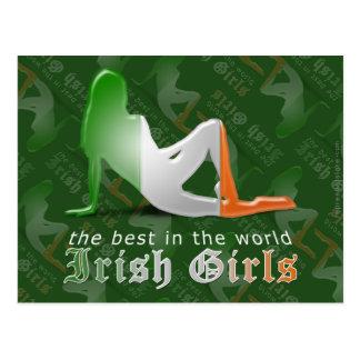 Irish Girl Silhouette Flag Postcard