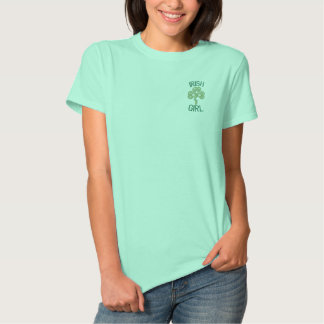 Irish Girl With Celtic Knot Hearts Embroidered Shirt