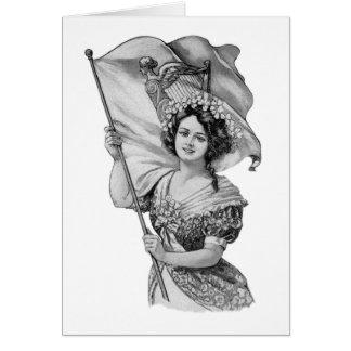 Irish Girl with Flag & Shamrocks & Blessing Card
