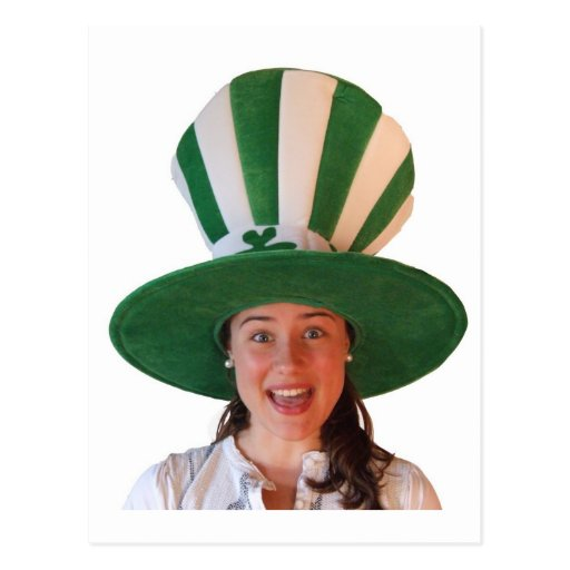 Irish girl with huge Hat Post Card