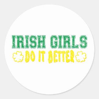 Irish Girls Do It Better Round Stickers