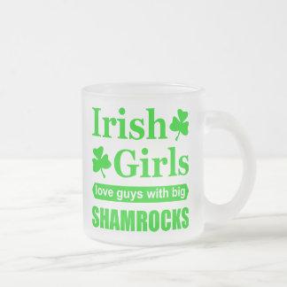 Irish Girls Love Big Shamrocks Funny Innuendo Frosted Glass Coffee Mug