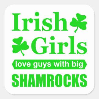 Irish Girls Love Big Shamrocks Funny Innuendo Square Sticker
