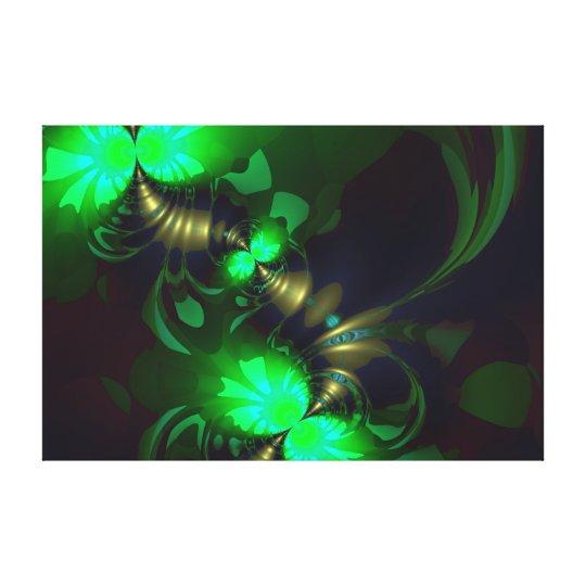 Irish Goblin – Emerald and Gold Ribbons Canvas Print