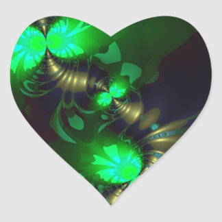 Irish Goblin – Emerald and Gold Ribbons Heart Sticker