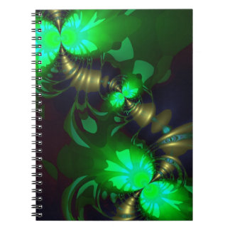 Irish Goblin – Emerald and Gold Ribbons Spiral Note Book