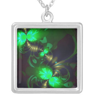 Irish Goblin – Emerald and Gold Ribbons Silver Plated Necklace