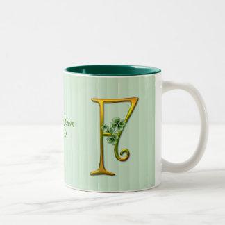 Irish Gold Monogram F Two-Tone Coffee Mug