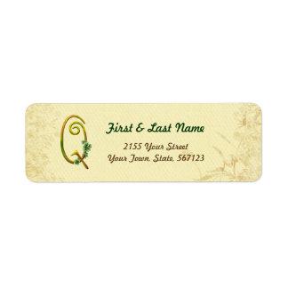 Irish Gold Monogram Q Label