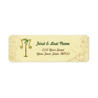 Irish Gold Monogram T Label