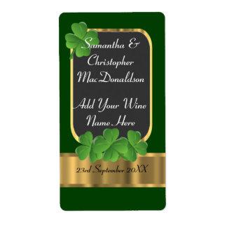 Irish green and gold wedding wine bottle label