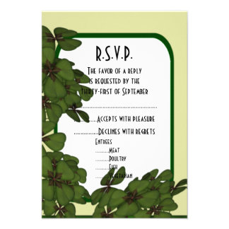 Irish green, and shamrock wedding R.S.V.P Card