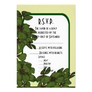 Irish green, and shamrock wedding R.S.V.P Personalized Invites
