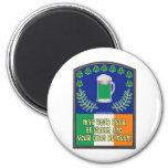 Irish Green Beer Toast 2 Inch Round Magnet
