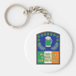 Irish Green Beer Toast Basic Round Button Keychain