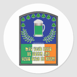 Irish Green Beer Toast Classic Round Sticker